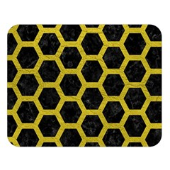 HEXAGON2 BLACK MARBLE & YELLOW LEATHER (R) Double Sided Flano Blanket (Large)