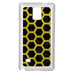 HEXAGON2 BLACK MARBLE & YELLOW LEATHER (R) Samsung Galaxy Note 4 Case (White)