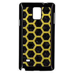HEXAGON2 BLACK MARBLE & YELLOW LEATHER (R) Samsung Galaxy Note 4 Case (Black)