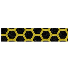 HEXAGON2 BLACK MARBLE & YELLOW LEATHER (R) Small Flano Scarf