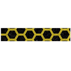 HEXAGON2 BLACK MARBLE & YELLOW LEATHER (R) Large Flano Scarf