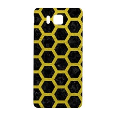 HEXAGON2 BLACK MARBLE & YELLOW LEATHER (R) Samsung Galaxy Alpha Hardshell Back Case