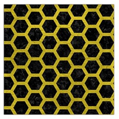 HEXAGON2 BLACK MARBLE & YELLOW LEATHER (R) Large Satin Scarf (Square)