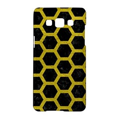 HEXAGON2 BLACK MARBLE & YELLOW LEATHER (R) Samsung Galaxy A5 Hardshell Case