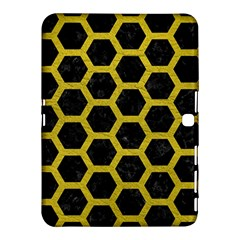 Hexagon2 Black Marble & Yellow Leather (r) Samsung Galaxy Tab 4 (10 1 ) Hardshell Case  by trendistuff