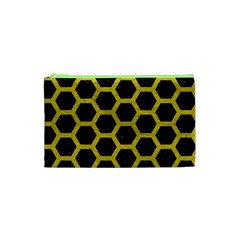 HEXAGON2 BLACK MARBLE & YELLOW LEATHER (R) Cosmetic Bag (XS)