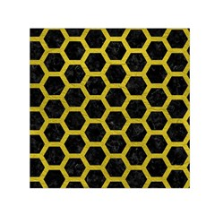 HEXAGON2 BLACK MARBLE & YELLOW LEATHER (R) Small Satin Scarf (Square)