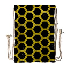 HEXAGON2 BLACK MARBLE & YELLOW LEATHER (R) Drawstring Bag (Large)