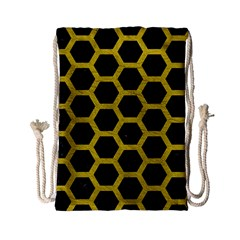 HEXAGON2 BLACK MARBLE & YELLOW LEATHER (R) Drawstring Bag (Small)