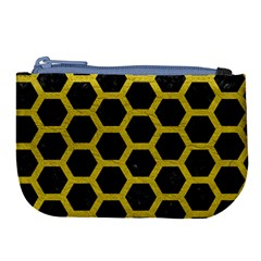 HEXAGON2 BLACK MARBLE & YELLOW LEATHER (R) Large Coin Purse