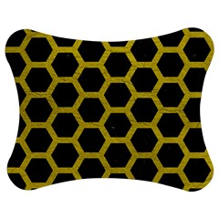 HEXAGON2 BLACK MARBLE & YELLOW LEATHER (R) Jigsaw Puzzle Photo Stand (Bow)