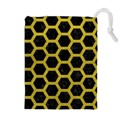 HEXAGON2 BLACK MARBLE & YELLOW LEATHER (R) Drawstring Pouches (Extra Large)