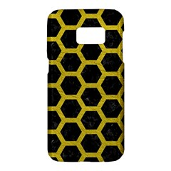 HEXAGON2 BLACK MARBLE & YELLOW LEATHER (R) Samsung Galaxy S7 Hardshell Case