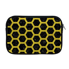 HEXAGON2 BLACK MARBLE & YELLOW LEATHER (R) Apple MacBook Pro 17  Zipper Case
