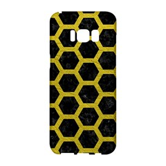 HEXAGON2 BLACK MARBLE & YELLOW LEATHER (R) Samsung Galaxy S8 Hardshell Case