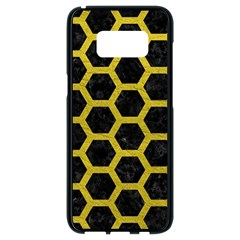 HEXAGON2 BLACK MARBLE & YELLOW LEATHER (R) Samsung Galaxy S8 Black Seamless Case