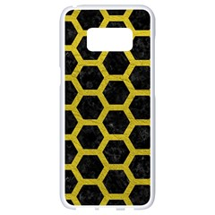 HEXAGON2 BLACK MARBLE & YELLOW LEATHER (R) Samsung Galaxy S8 White Seamless Case