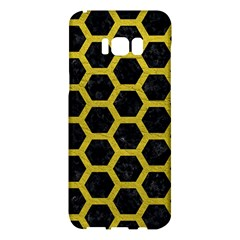 HEXAGON2 BLACK MARBLE & YELLOW LEATHER (R) Samsung Galaxy S8 Plus Hardshell Case