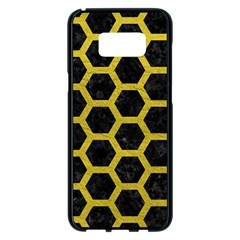 HEXAGON2 BLACK MARBLE & YELLOW LEATHER (R) Samsung Galaxy S8 Plus Black Seamless Case