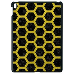 HEXAGON2 BLACK MARBLE & YELLOW LEATHER (R) Apple iPad Pro 9.7   Black Seamless Case