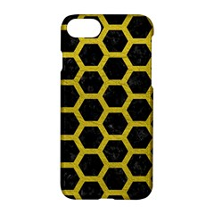 HEXAGON2 BLACK MARBLE & YELLOW LEATHER (R) Apple iPhone 8 Hardshell Case