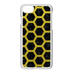 HEXAGON2 BLACK MARBLE & YELLOW LEATHER (R) Apple iPhone 8 Seamless Case (White)