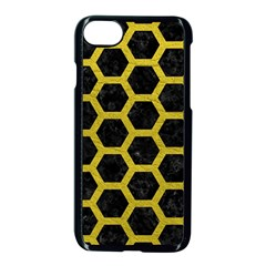 HEXAGON2 BLACK MARBLE & YELLOW LEATHER (R) Apple iPhone 8 Seamless Case (Black)