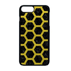 HEXAGON2 BLACK MARBLE & YELLOW LEATHER (R) Apple iPhone 8 Plus Seamless Case (Black)