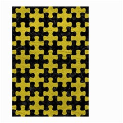 Puzzle1 Black Marble & Yellow Leather Small Garden Flag (two Sides) by trendistuff