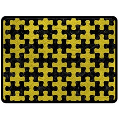 Puzzle1 Black Marble & Yellow Leather Double Sided Fleece Blanket (large)  by trendistuff