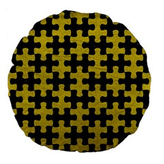Puzzle1 Black Marble & Yellow Leather Large 18  Premium Flano Round Cushions by trendistuff