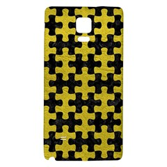 Puzzle1 Black Marble & Yellow Leather Galaxy Note 4 Back Case by trendistuff
