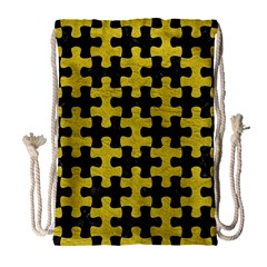 Puzzle1 Black Marble & Yellow Leather Drawstring Bag (large) by trendistuff