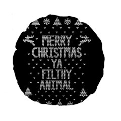 Ugly Christmas Sweater Standard 15  Premium Round Cushions by Valentinaart