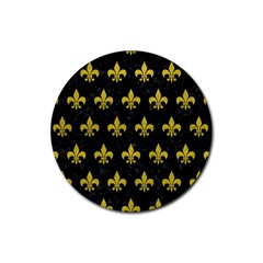 Royal1 Black Marble & Yellow Leather Rubber Coaster (round)  by trendistuff
