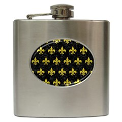 Royal1 Black Marble & Yellow Leather Hip Flask (6 Oz) by trendistuff