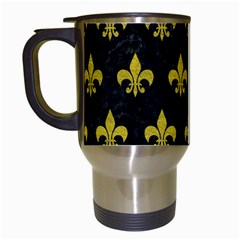 Royal1 Black Marble & Yellow Leather Travel Mugs (white) by trendistuff