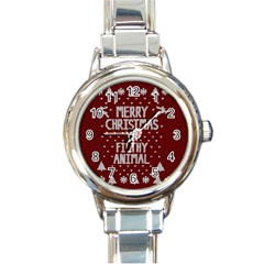 Ugly Christmas Sweater Round Italian Charm Watch by Valentinaart