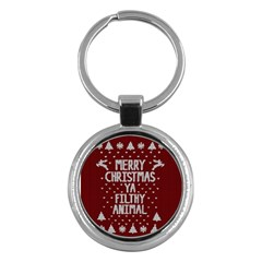 Ugly Christmas Sweater Key Chains (round)  by Valentinaart