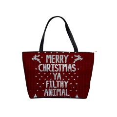 Ugly Christmas Sweater Shoulder Handbags by Valentinaart