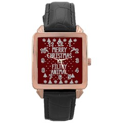 Ugly Christmas Sweater Rose Gold Leather Watch