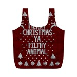 Ugly Christmas Sweater Full Print Recycle Bags (M)  Back