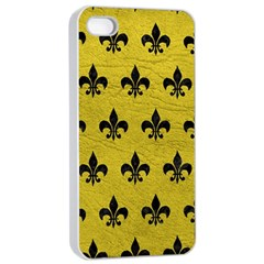 Royal1 Black Marble & Yellow Leather (r) Apple Iphone 4/4s Seamless Case (white) by trendistuff
