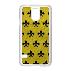 Royal1 Black Marble & Yellow Leather (r) Samsung Galaxy S5 Case (white) by trendistuff