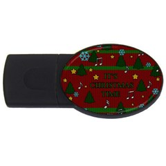Ugly Christmas Sweater Usb Flash Drive Oval (2 Gb) by Valentinaart
