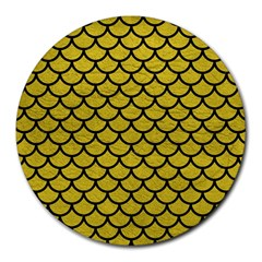 Scales1 Black Marble & Yellow Leather Round Mousepads by trendistuff