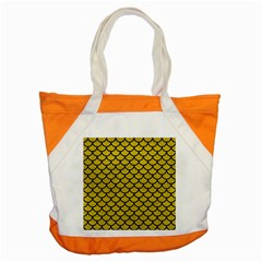 Scales1 Black Marble & Yellow Leather Accent Tote Bag
