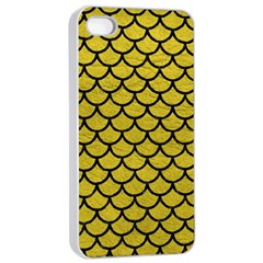 Scales1 Black Marble & Yellow Leather Apple Iphone 4/4s Seamless Case (white) by trendistuff