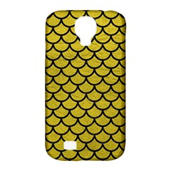 Scales1 Black Marble & Yellow Leather Samsung Galaxy S4 Classic Hardshell Case (pc+silicone) by trendistuff