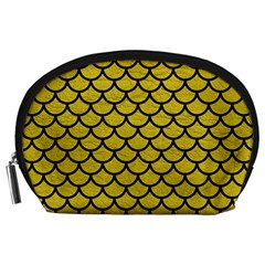 Scales1 Black Marble & Yellow Leather Accessory Pouches (large)  by trendistuff